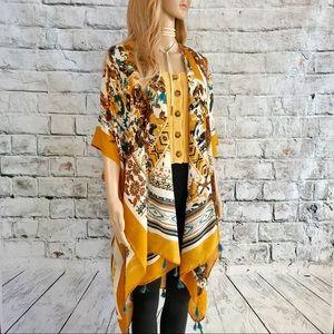 🔥NWT Kimono w/ Multicolor Floral & Aztec Design